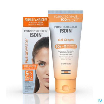 Fotoprotector ISDIN Discovery pack FusionWater SPF 50 50ml + Gel cream 100ml New